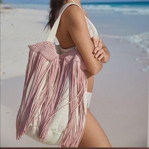 PilyQ Pink Sand Macrame Tote